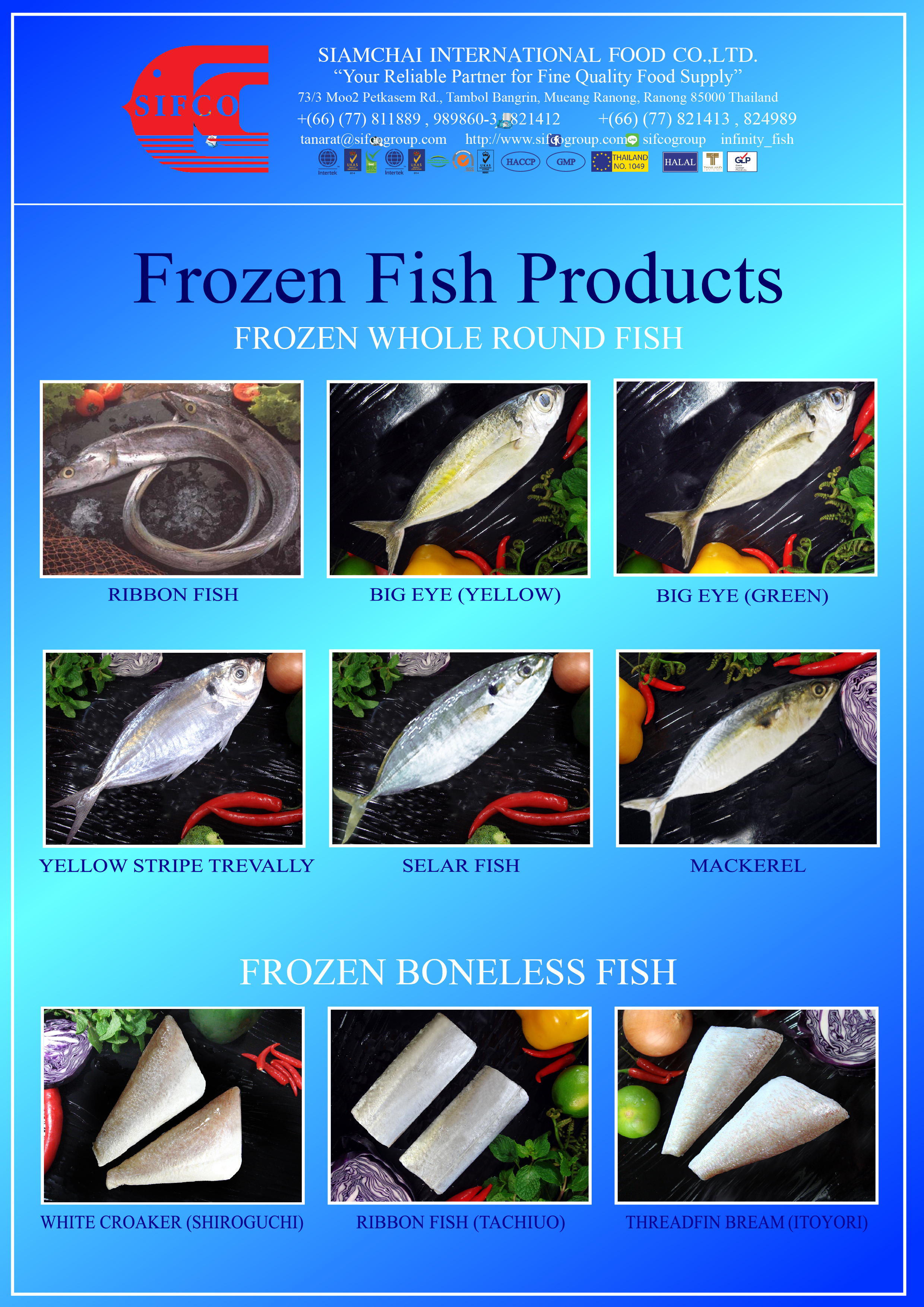 Fish sifco siamchai frozen seafood fish squid shrimp for Frozen fish for sushi